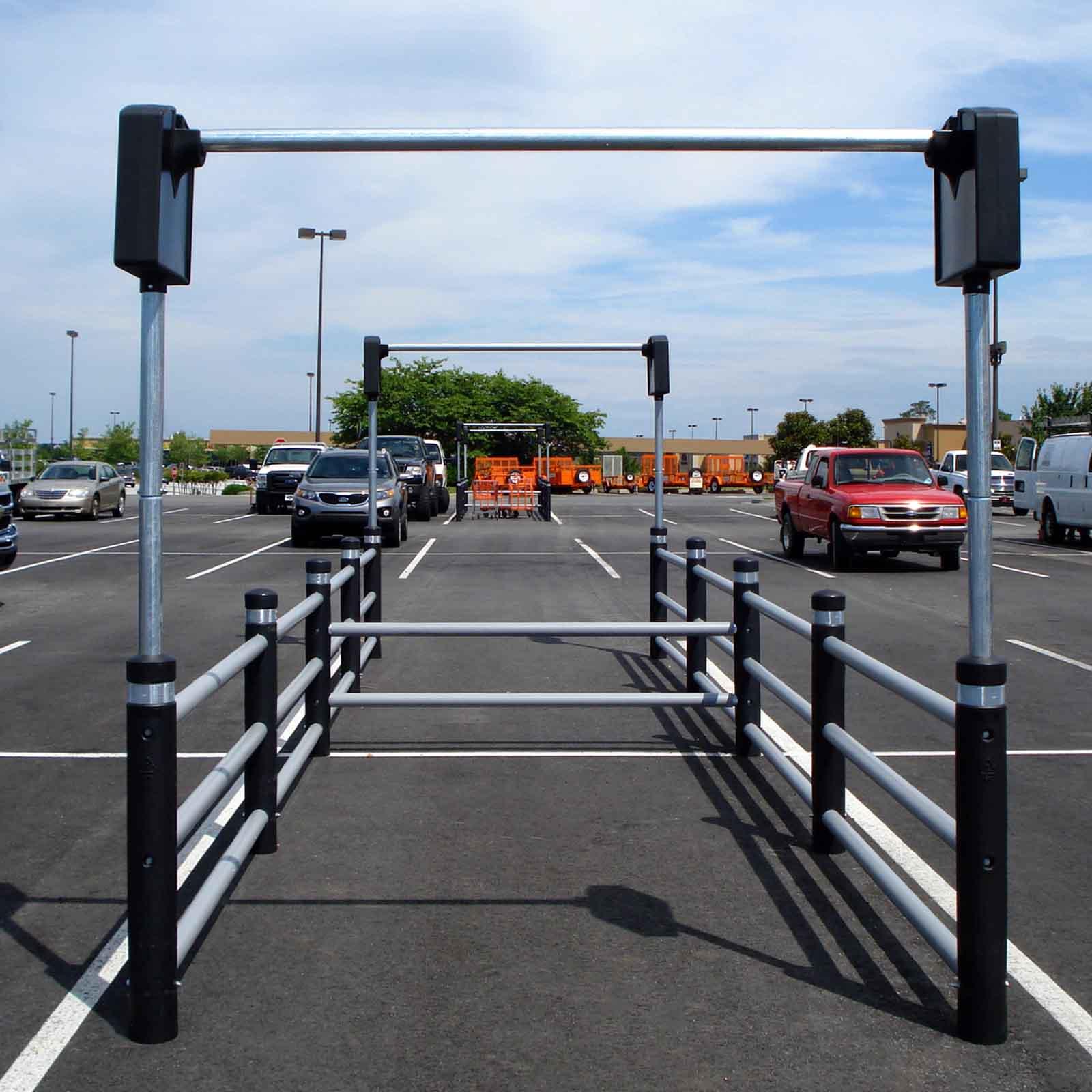 McCue Bollard Cart Corral In Parking Lot