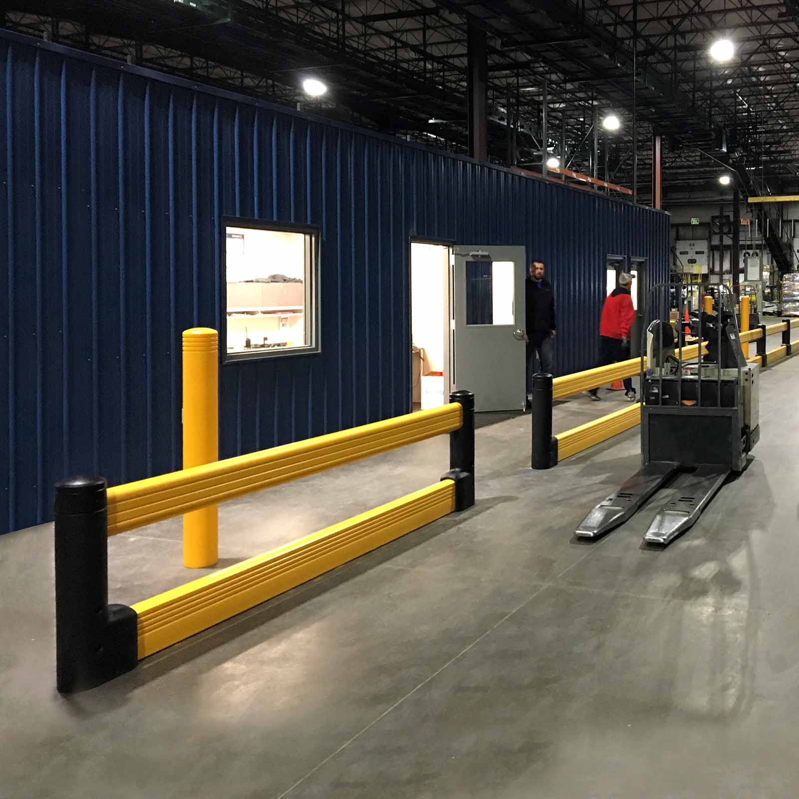 McCue FlexCore Guard Rail Plus Safety Barrier Protection in warehouse
