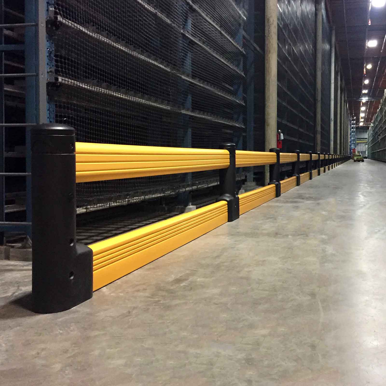 McCue FlexCore Guard Rail Safety Barrier Protection in warehouse
