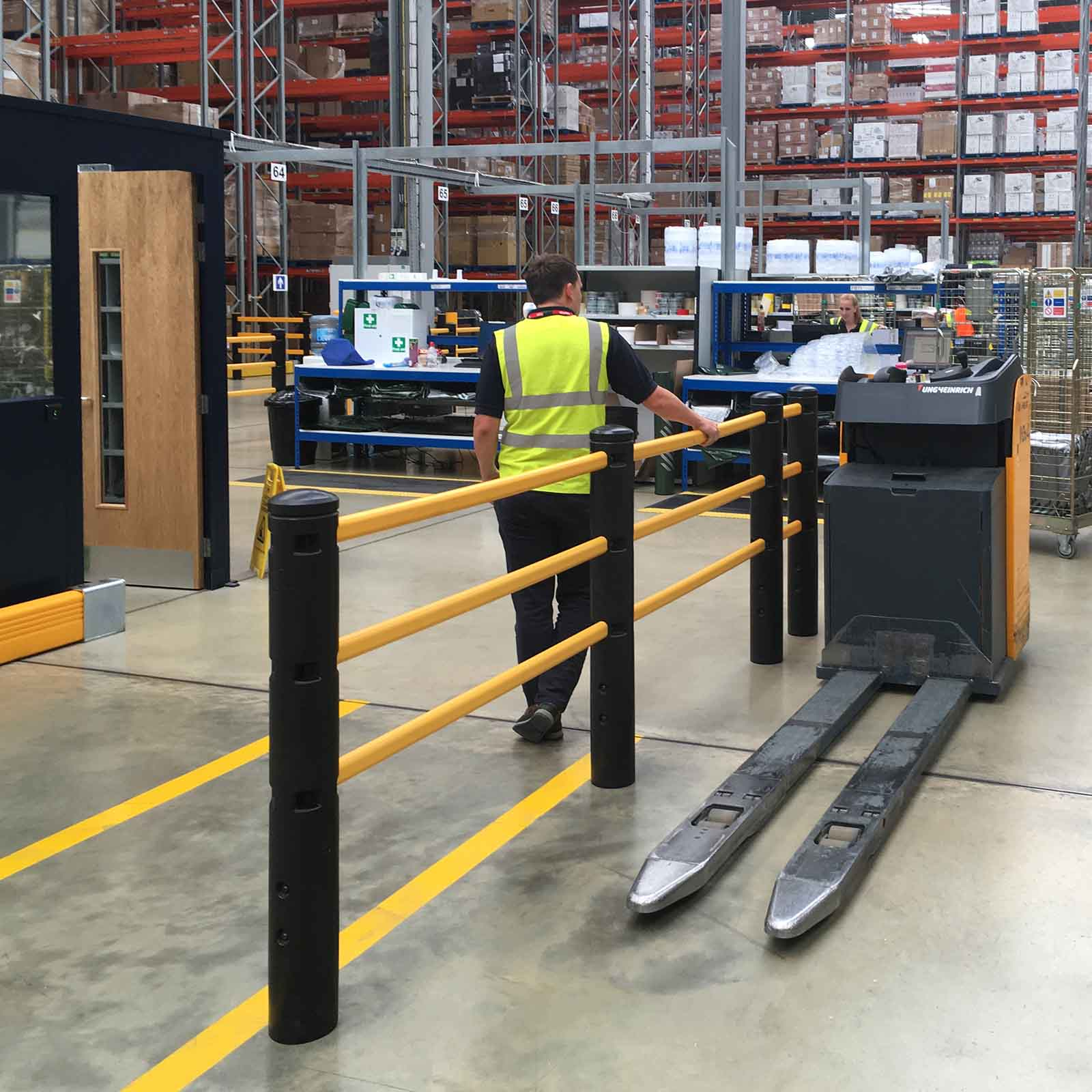 McCue Pedestrian Barrier Safety Protection in Warehouse