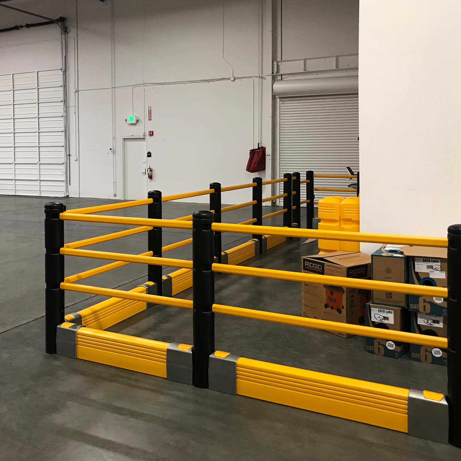 McCue Pedestrian Barrier Safety Protection with Floor Mounted Crash Barrier PLUS in Warehouse