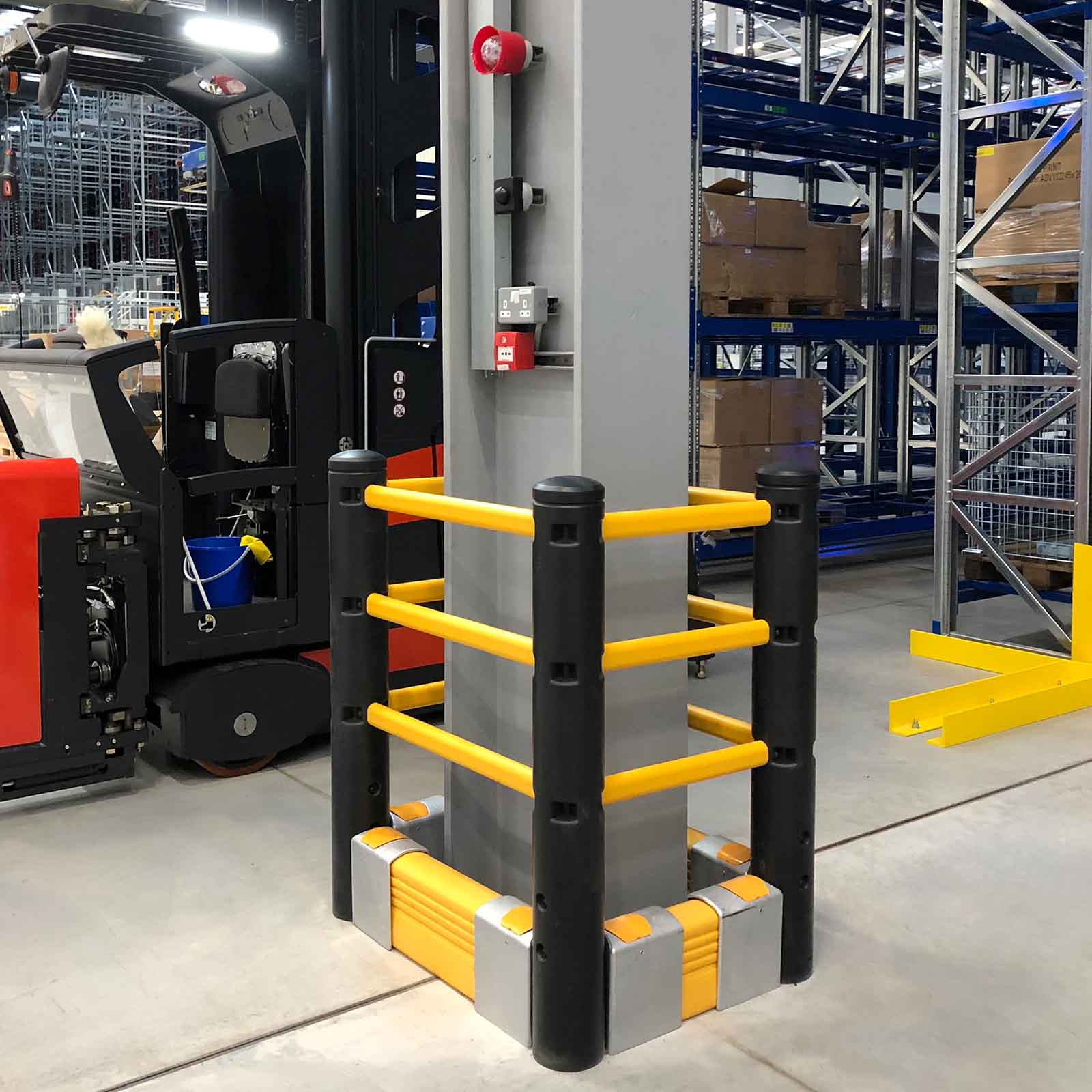 McCue Pedestrian Barrier Safety Protection with Floor Mounted Crash Barrier in Warehouse