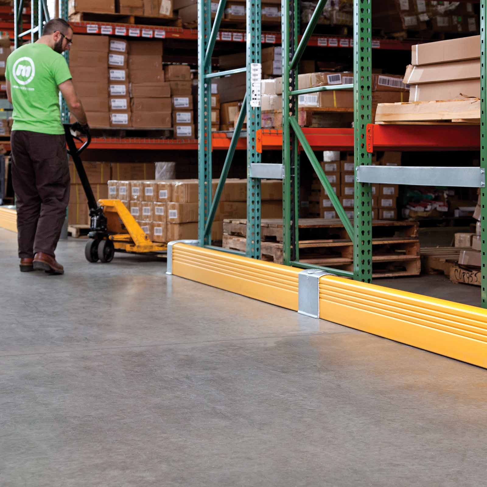 McCue Rack End Safety Barrier Protection in warehouse