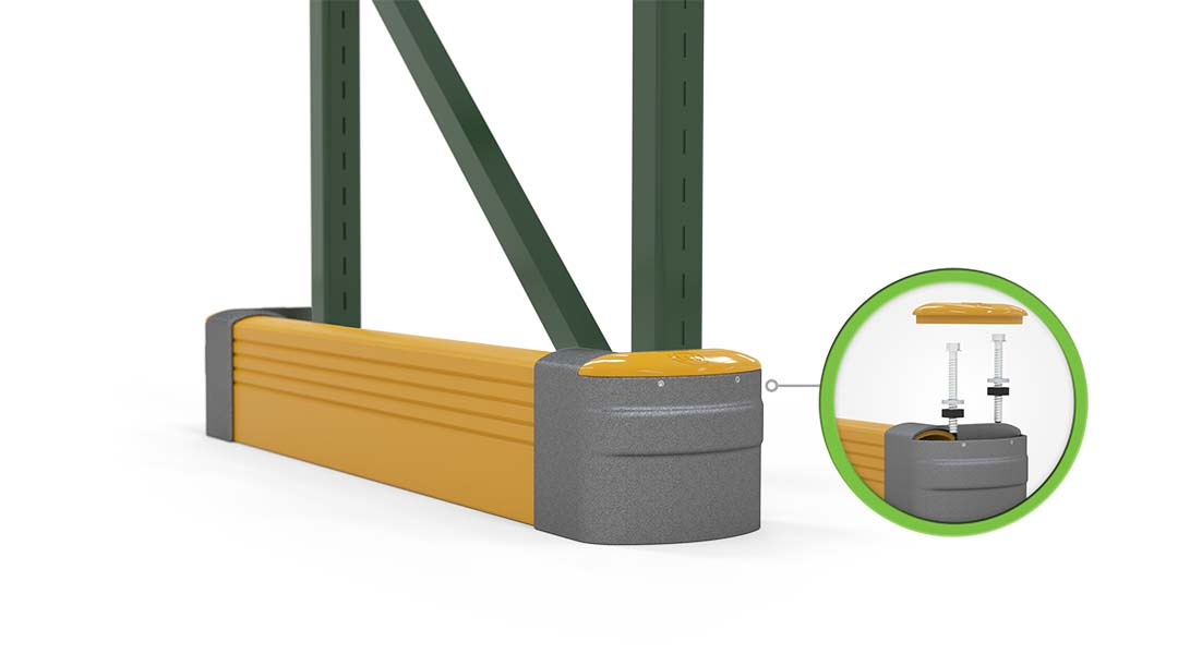 McCue Rack End Safety Barrier Protection in warehouse How it works