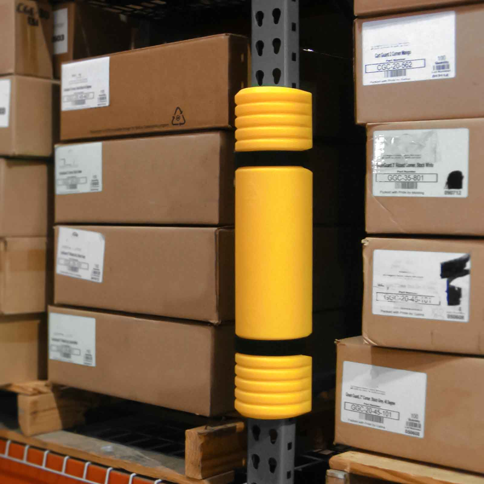McCue Rack Mounted Guard Safety Protection on Racking